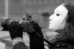 Photographer with mask
