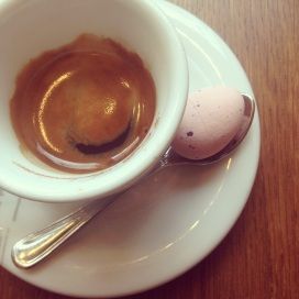 An espresso in the morning with a side of chocolate egg (Hey! Easter's coming up)