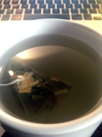 I drink herbal tea while working at home - I tried one of the new flavors I just got in the mail.