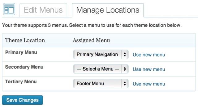 Selecting menu locations