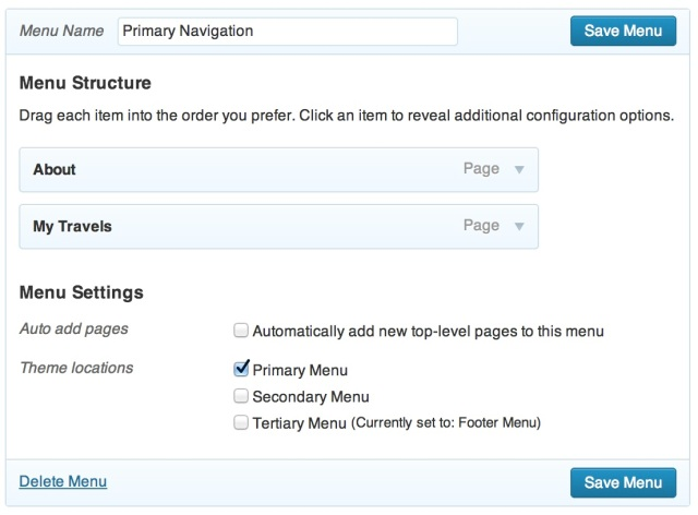 Creating a primary navigation menu