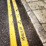 Lines: unexpected street art on yellow lines on the road in London's Shoreditch area.