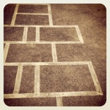 Shapes: hopscotch squares and rectangles.