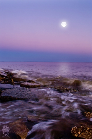The Moon and the Tide. Different shades of blue.
