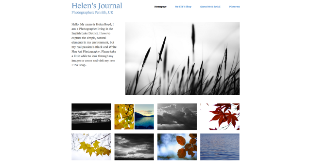 The home page of Helen's Journal, featured images and all.