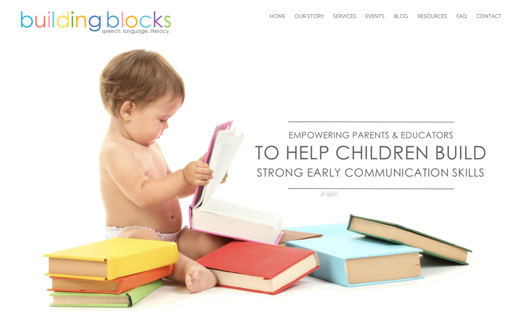 http://buildingblockslanguage.com/ uses pastel colors that match the books the baby is reading.