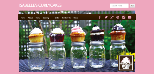 http://isabellescurlycakes.com/ dives in with chocolate and cherries for this cupcake shop.