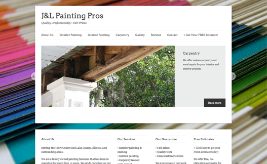Although a subtle background is recommended, don't let that deter you from trying something fun like stacks of paint swatches on the http://jandlpaintingpros.com/ site. If it fits your content, try it out.
