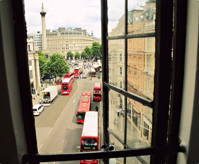 View of Trafalgar Square in London, England