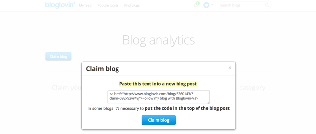 bloglovin claim
