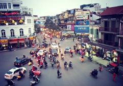 A city with busy, chaotic streets.