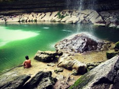 A relaxing swimming hole.
