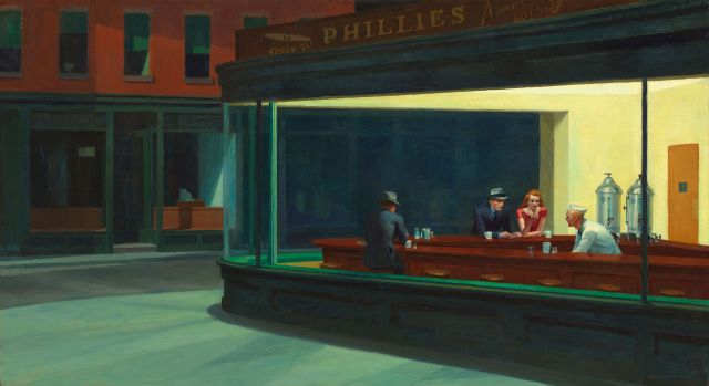 Nighthawks by Edward Hopper, 1942. Public Domain