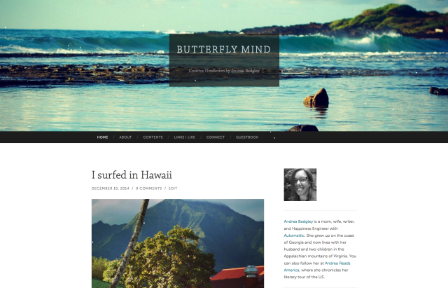 After: Butterfly Mind blog with Hemingway Rewritten theme