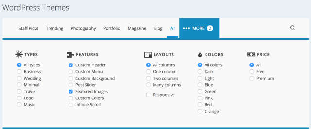 Filter for desired features in Theme Showcase