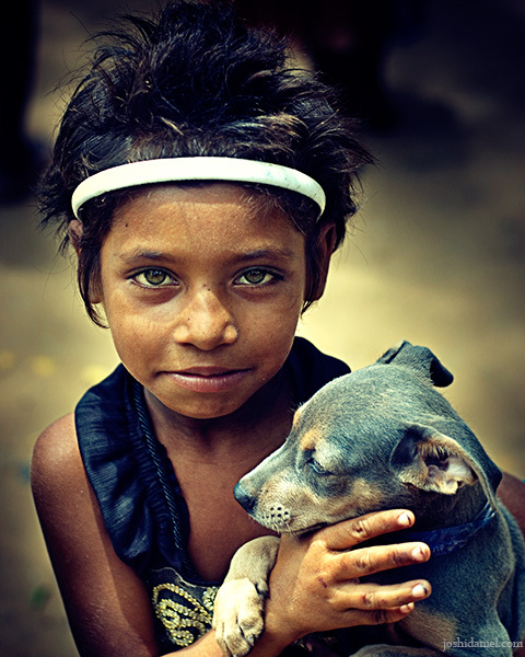 """Little girl with puppy"" by Joshi Daniel."