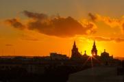 A blazing sunset over Floriana, Malta.