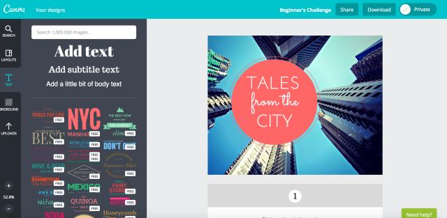 Um widget de imagem para uma categoria de blog sobre como escrever sobre a vida na cidade, feito rapidamente com o Canva.