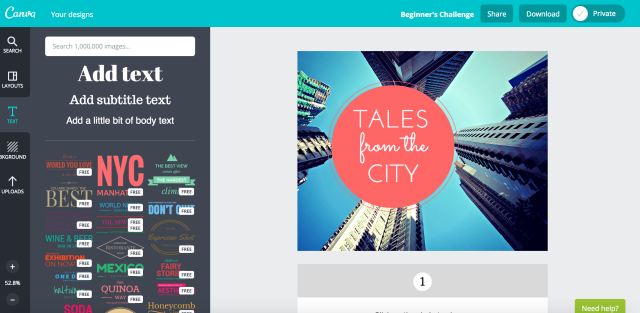 An image widget for a blog category on writing about city living, made quickly with Canva.