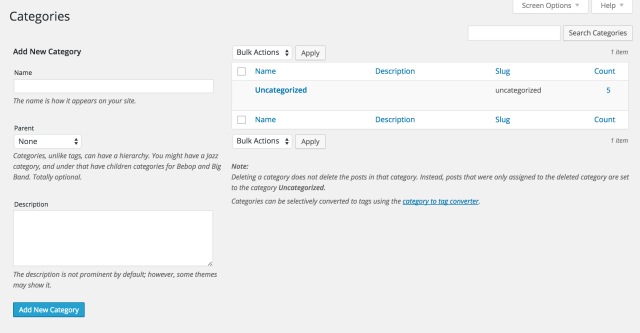 On the left side of the page, type in the categories you want to add to your site.