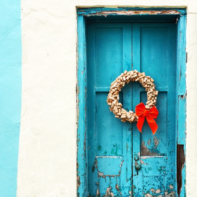 A bright blue door in St. Georges, Bermuda.