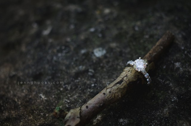 "A photo of an engagement ring on a twig, with a stone background. Photo by <a href=""http://threebirds.blog"" target=""new"">Jen Hooks</a>."