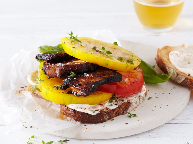 Heirloom Tomato Sandwich with Pork from Cookin' and Shootin'.