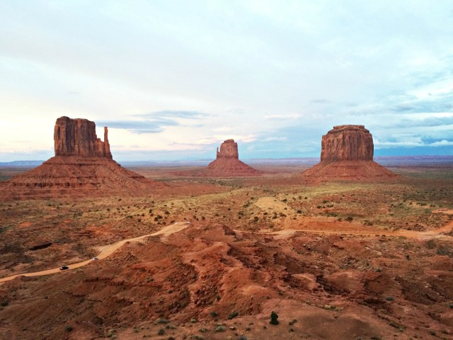 The mittens of Monument Valley Navajo Tribal Park near the Utah-Arizona state line.
