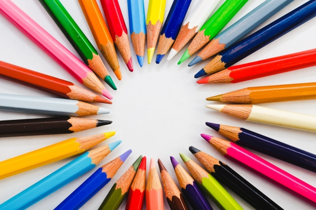 "Vibrant, a photo of colored pencils arranged in a circle, by <a href=""http://threebirds.blog"" target=""new"">Jen Hooks</a>."