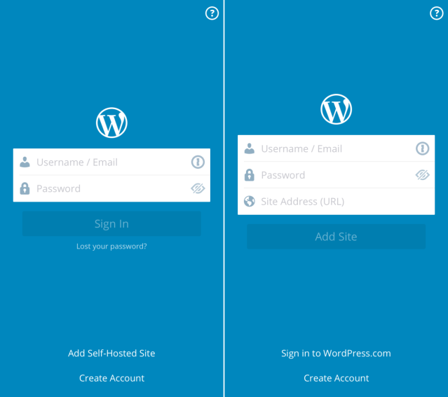 WordPress iOS login screen