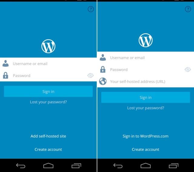 WP Android login screen