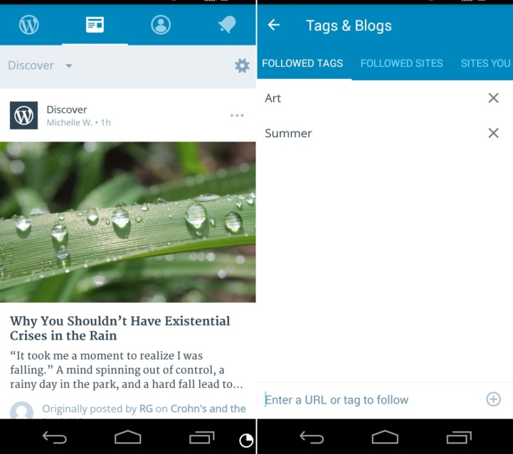 The Reader in WP Android