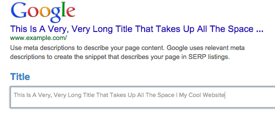 This screenshot shows how search engines cut off titles based on length.