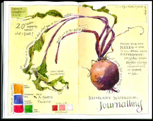 A workshop demonstration page in one of Jean Mackay's beautifully illustrated journals.