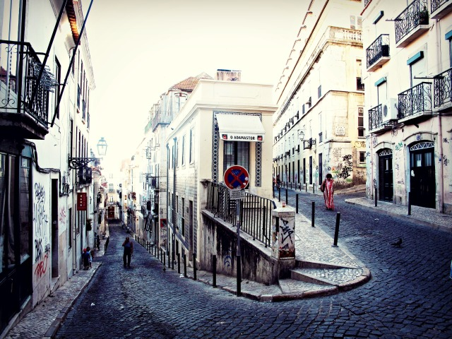 Photo a street in Bairro Alto in Lisbon, Portugal, by Cheri Lucas Rowlands.