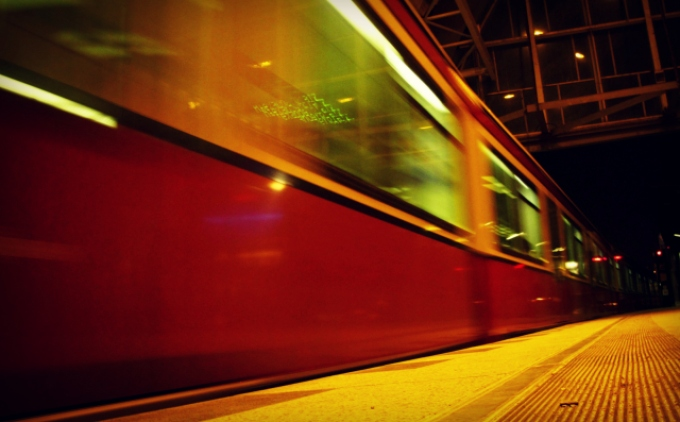 Photo of a train at Berlin Alexanderplatz Station by Cheri Lucas Rowlands.