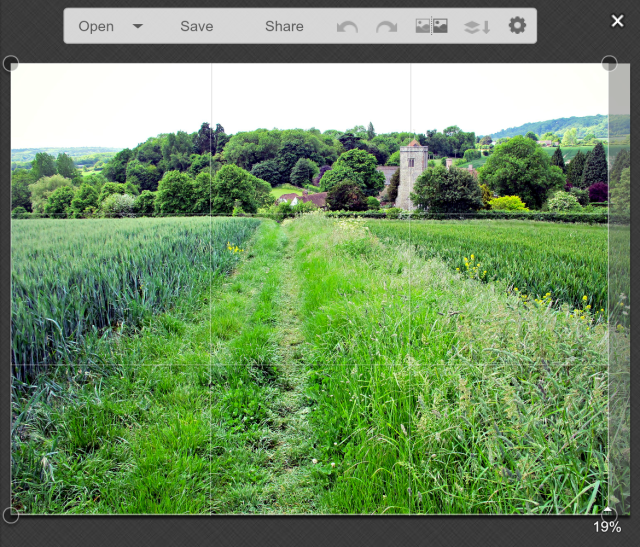Cropping the right side of today's landscape image in PicMonkey.