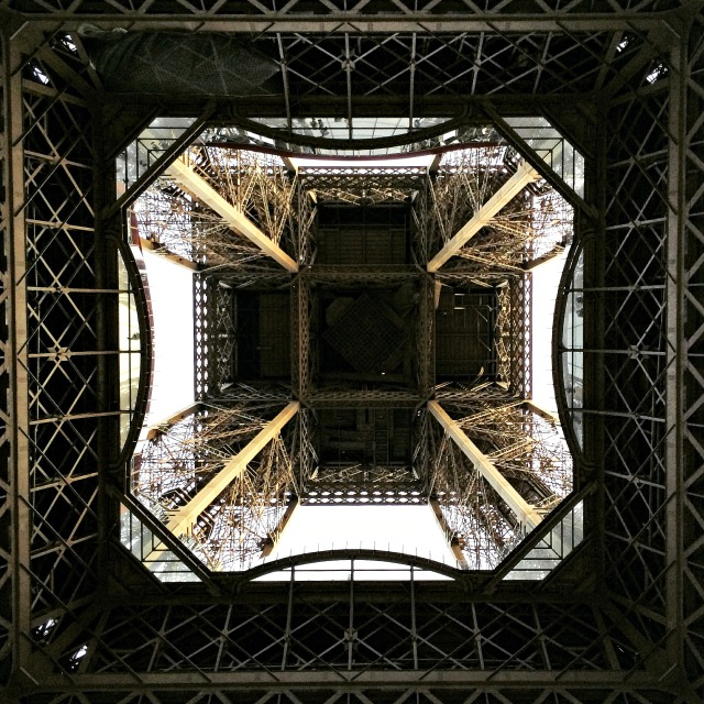 Photo of the Eiffel Tower, from underneath, by Cheri Lucas Rowlands.