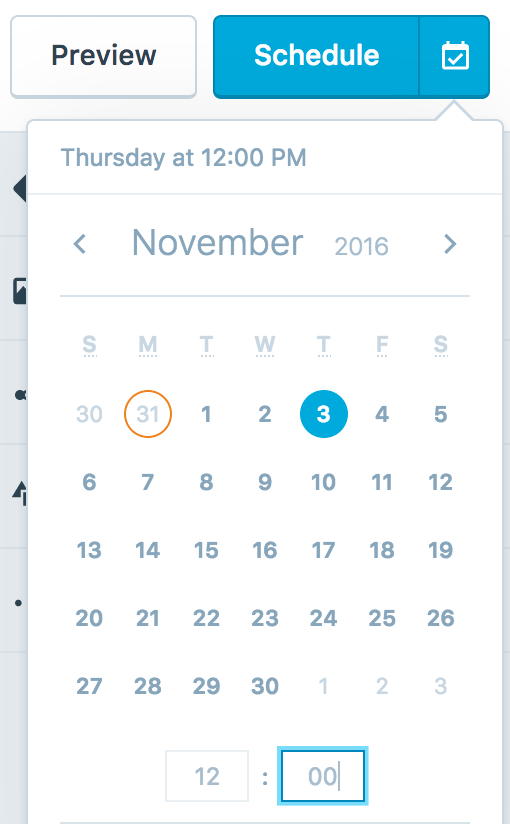 Screenshot of scheduling a WordPress post