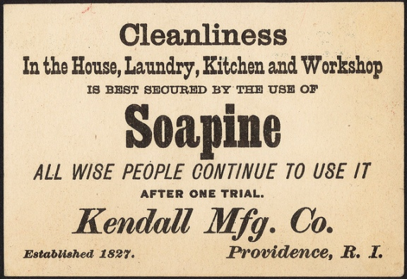 The Daily Post can neither confirm nor deny the efficacy of Soapine in keeping your workshop clean. Maybe just watch your language. (Photo by the Boston Public Library, CC BY 2.0.)
