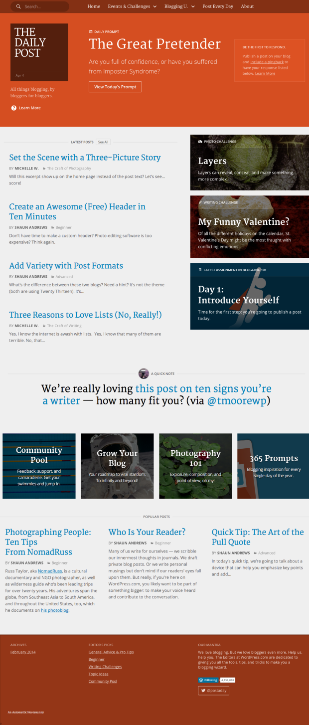 pageshot of 'The Daily Post All things blogging, by bloggers for bloggers ' @ 2014-04-05-1237