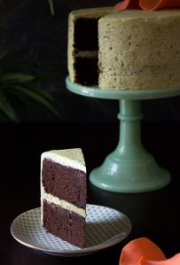 Chocolate Pound Cake with Pistachio Buttercream by Carrie of The Patterned Plate.