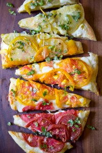 Heirloom Tomato Pizza by Paola of Love + Cupcakes.